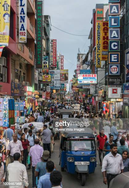 sri lanka, congested street in old colombo. - colombo stock pictures, royalty-free photos & images