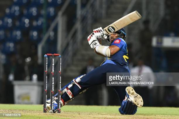 Sri Lanka cricketer Kusal Mendis plays a shot during the second international Twenty20 cricket match between Sri Lanka and New Zealand at the...