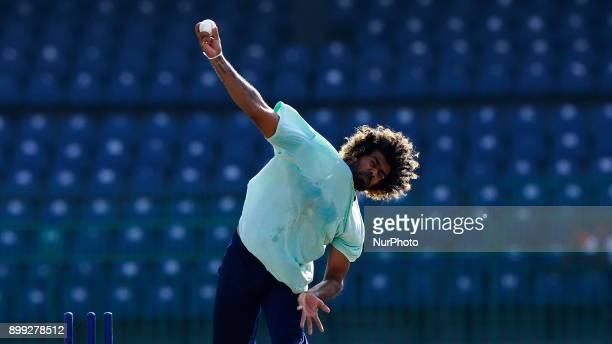 Sri Lanka cricketer Lasith Malinga delivers a ball during a training session at R Premadasa cricket stadium Colombo Sri Lanka on Thursday 28 December...