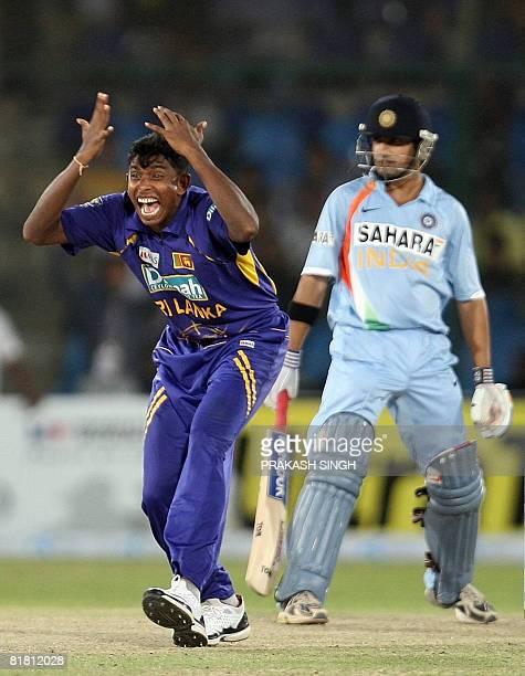 Sri Lanka cricketer Thilina Thushara Mirando appeals unsuccessfully for a caught behind decision against India cricketer Gautam Gambhir during a...