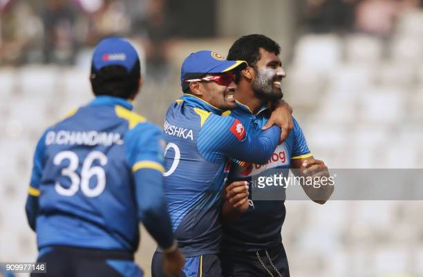 Sri Lanka Cricketer Thisara Perera celebrates after dismissal of Bangladeshi batsman Sabbir Rahman during the sixth One Day International match in...