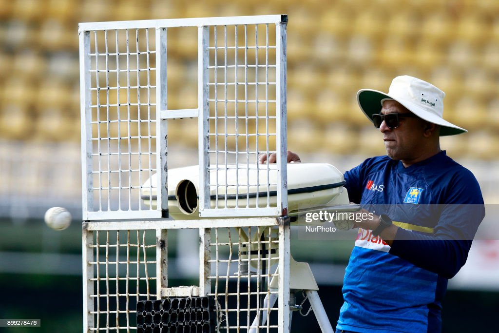 Sri Lanka cricket's new head coach Chandika Hathurusingha operates a Cricket-Ballling machine during a practice session with the Sri Lankan cricketers at R Premadasa cricket stadium, Colombo, Sri Lanka on Thursday 28 December 2017. Sri Lanka will be leaving to Bangladesh on Saturday, 13th January to take part in a Tri-Nation One Day International cricket Tournament with Bangladesh and Zimbabwe followed by two test matches and two Twenty-20 matches against host Bangladesh.