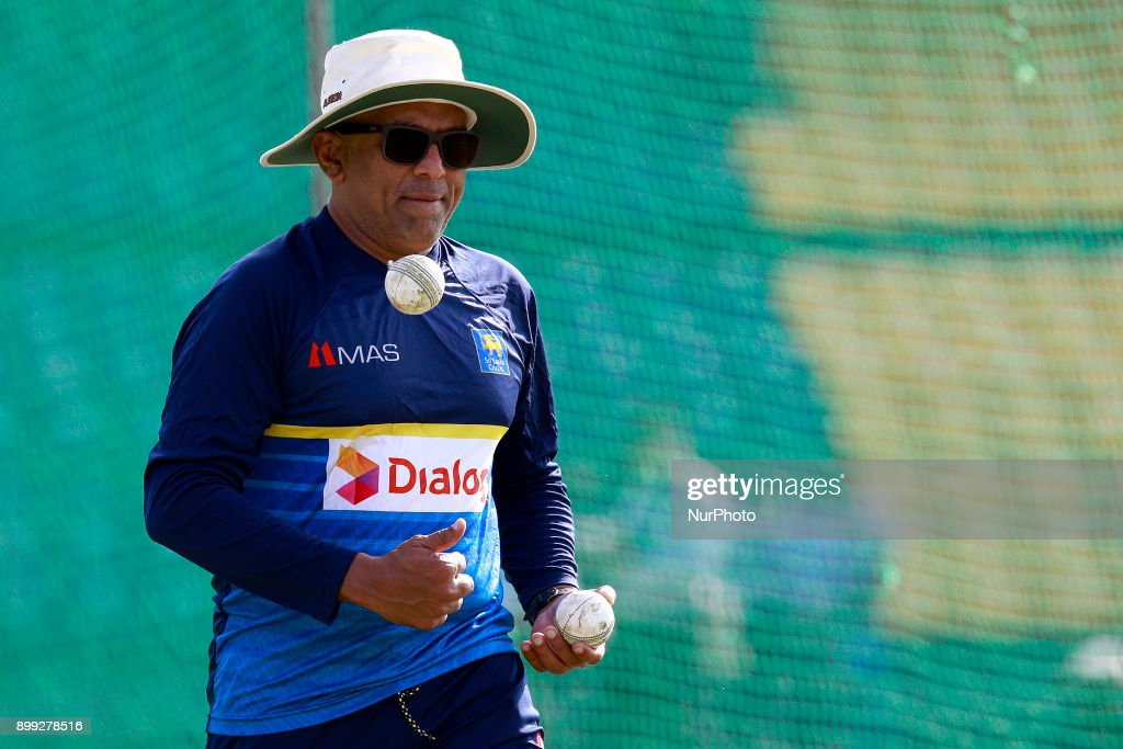 Sri Lanka cricket's new head coach Chandika Hathurusingha tosses a cricket ball during a practice session with the Sri Lankan cricketers at R Premadasa cricket stadium, Colombo, Sri Lanka on Thursday 28 December 2017. Sri Lanka will be leaving to Bangladesh on Saturday, 13th January to take part in a Tri-Nation One Day International cricket Tournament with Bangladesh and Zimbabwe followed by two test matches and two Twenty-20 matches against Bangladesh.