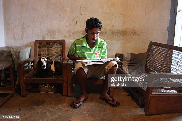 Pupil of the Don Bosco center for vocational training for former street kids or children of poor families He reads a book next to him sits a goat on...