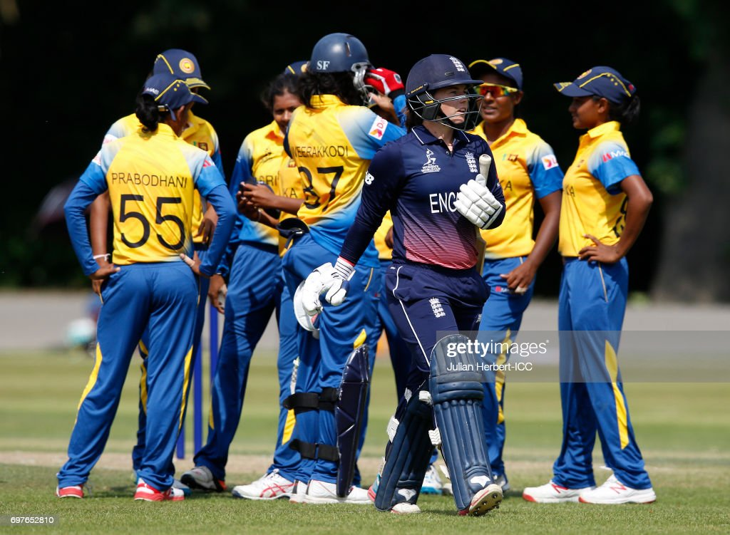 Sri Lanka players celebrate the wicket of Tamsin Beaumont of England during The ICC Women's World Cup warm up match between England and Sri Lanka at Queens Park on June 19, 2017 in Chesterfield, England.