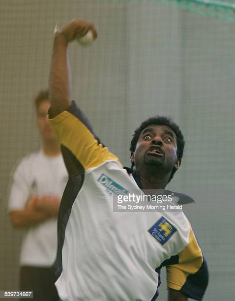 Sri Lanka practice at the Sydney Cricket Ground indoor nets on 19 January 2006 Muttiah Muralitharan bowling during the session SMH SPORT Picture by...