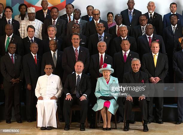 Sri Lanka president Maithriipala Sirisena Malta Prime Minister Joseph Muscat Queen Elizabeth II and Commonwealth Secretary General Kamalesh Sharma...