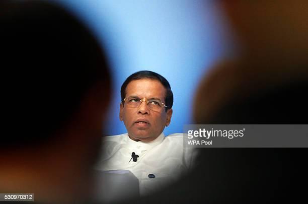 Sri Lanka President Maithripala Sirisena speaks during a panel discussion at the international anticorruption summit on May 12 2016 in London England...