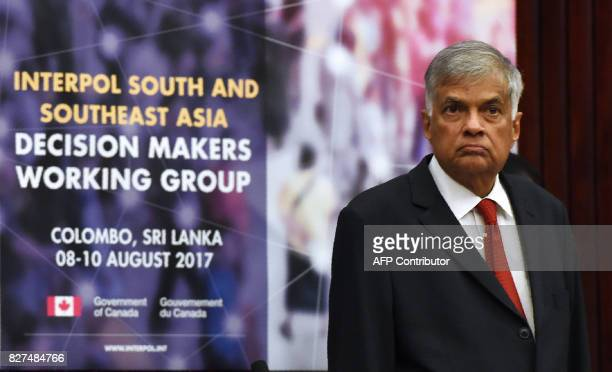 Sri Lanka Prime Minister Ranil Wickremesinghe looks on during the opening of the regional conference on countering terrorism and transnational crime...