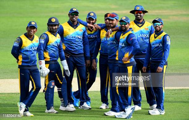 Sri Lanka wait for the 3rd Umpire's decision on the stumping of Usman Khawaja of Australia during the ICC Cricket World Cup 2019 Warm Up match...
