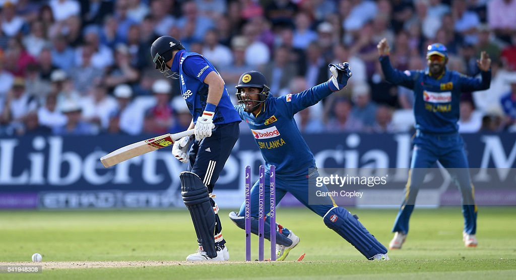Sri Lanka wicketkeeper Dinesh Chandimal celebrates after Joe Root of England is bowled by Angelo Mathews of Sri Lanka during the 1st ODI Royal London One Day match between England and Sri Lanka at Trent Bridge on June 21, 2016 in Nottingham, England.