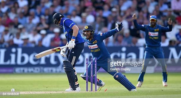 Sri Lanka wicketkeeper Dinesh Chandimal celebrates after Joe Root of England is bowled by Angelo Mathews of Sri Lanka during the 1st ODI Royal London...
