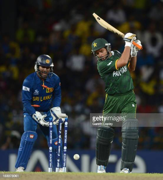 Sri Lanka wicketkeeper Kumar Sangakkara celebrates after Shahid Afridi of Pakistan is bowled by Rangana Herath during the ICC World Twenty20 2012...