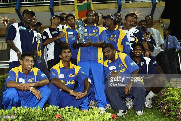 Sri Lanka with the trophy after the rescheduled ICC Champions Trophy final between Sri Lanka and India at the R Premadasa Stadium in Colombo Sri...