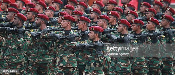 Sri Lankan army commando soldiers march during the country's 67th Independence day celebrations in Colombo on February 4 2015 Sri Lanka obtained...