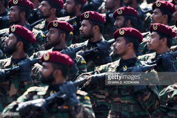 Sri Lankan army commandos march in the military parade during Sri Lanka's 70th Independence Day celebrations in Colombo on February 4 2018 Sri Lanka...