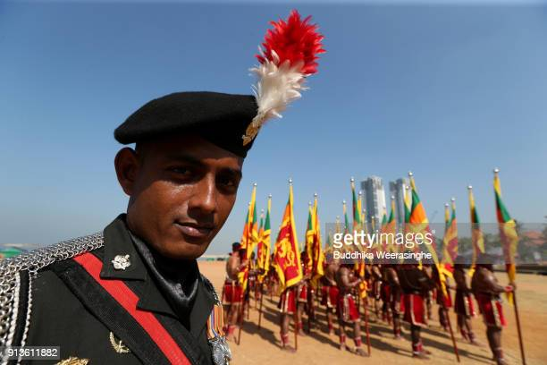 Sri Lankan Army officer participates in the 70th Independence Day celebration rehearsal on February 2 2018 in Colombo Sri Lanka