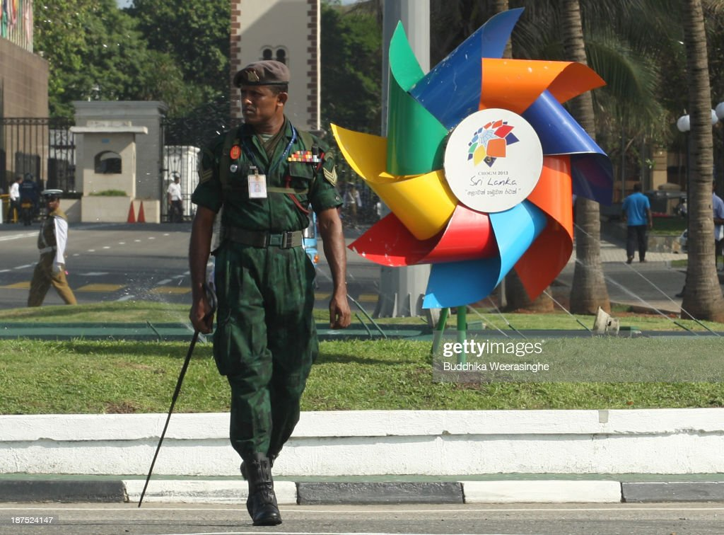 A Sri Lankan Army officer patrols ahead of the Commonwealth Heads of Government (CHOGM) meetings on November 10, 2013 in Colombo, Sri Lanka. The bi-annual gathering of Commonwealth leaders will take place in the Sri Lankan captial, Columbo, November 15-17. CHOGM will move forward despite some human rights groups are urging leaders to boycott the meetings until Sri Lanka further investigates charges of war crimes. Canadian Prime Minister, Stephen Harper has already confirmed he will not attend.