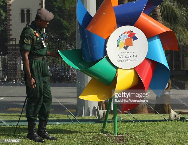 Sri Lankan Army officer patrols ahead of the Commonwealth Heads of Government meetings on November 10 2013 in Colombo Sri Lanka The biannual...
