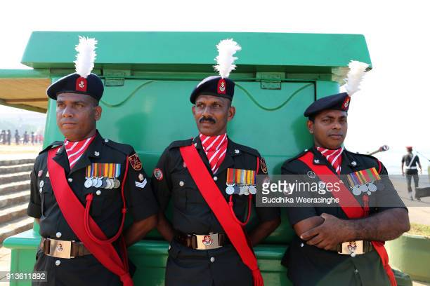 Sri Lankan Army officers dressed in ceremonial costume during the 70th Independence Day celebration rehearsal on February 2 2018 in Colombo Sri Lanka