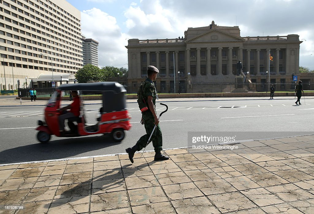 A Sri Lankan Army officers patrol ahead of the Commonwealth Heads of Government (CHOGM) meetings on November 10, 2013 in Colombo, Sri Lanka. The bi-annual gathering of Commonwealth leaders will take place in the Sri Lankan captial, Columbo, November 15-17. CHOGM will move forward despite some human rights groups are urging leaders to boycott the meetings until Sri Lanka further investigates charges of war crimes. Canadian Prime Minister, Stephen Harper has already confirmed he will not attend.