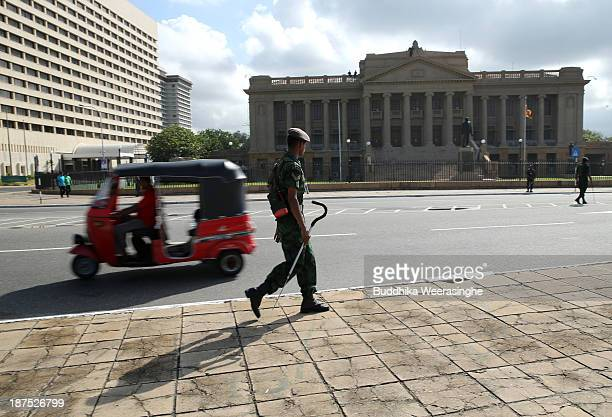 Sri Lankan Army officers patrol ahead of the Commonwealth Heads of Government meetings on November 10 2013 in Colombo Sri Lanka The biannual...