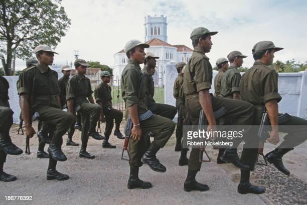 Sri Lankan Army recruits during training in Jaffna Sri Lanka circa 1993