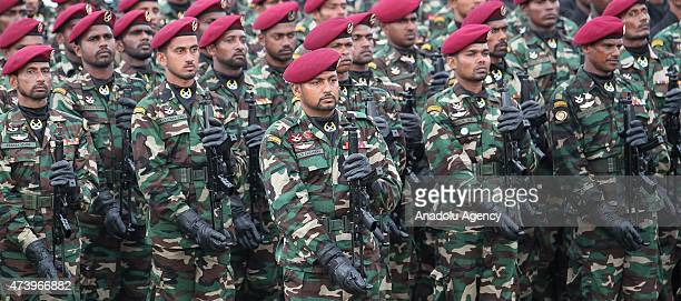 Sri Lankan army soldiers participate in a Victory Day parade in the southern coastal town of Matara about 150 kilometers south of Colombo Sri Lanka...