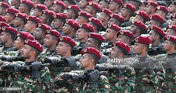 Sri Lankan army soldiers participate in a Victory Day parade in the southern coastal town of Matara 150 kilometers south of Colombo Sri Lanka on May...
