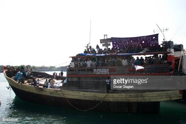 Sri Lankan asylum seekers engage in a hunger strike after their boat broke down on the way to Australia's Christmas Island at Cilegon on October 16...