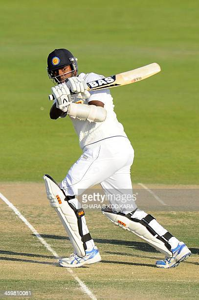 Sri Lankan batsman Angelo Mathews plays a shot during the opening day of the first cricket Test match between Pakistan and Sri Lanka at the Sheikh...