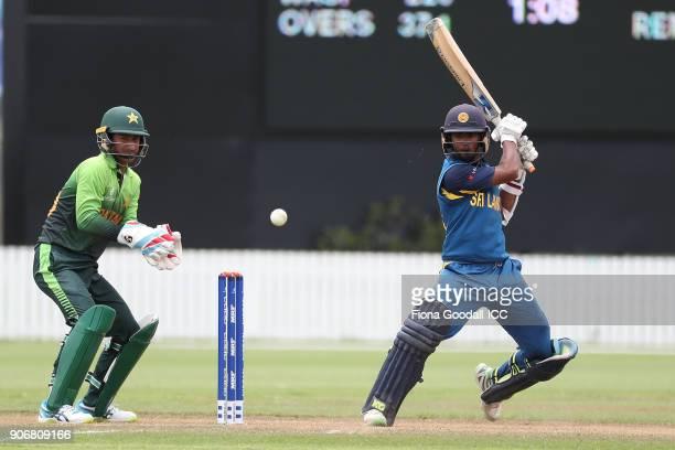 Sri Lankan batsman Ashen Bandara during the ICC U19 Cricket World Cup match between Sri Lanka and Pakistan at Cobham Oval on January 19 2018 in...
