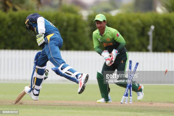 Sri Lankan batsman Ashen Bandara during the ICC U19 Cricket World Cup match between Sri Lanka and Pakistan at Cobham Oval on January 19 2018 in...