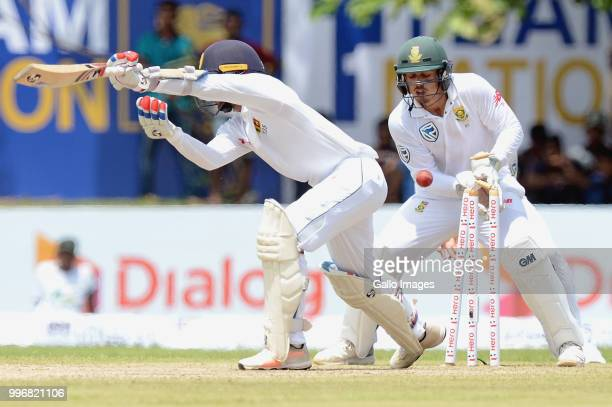 Sri Lankan batsman Dhanajaya de Silva bowled out during day 1 of the 1st Test match between Sri Lanka and South Africa at Galle International Stadium...