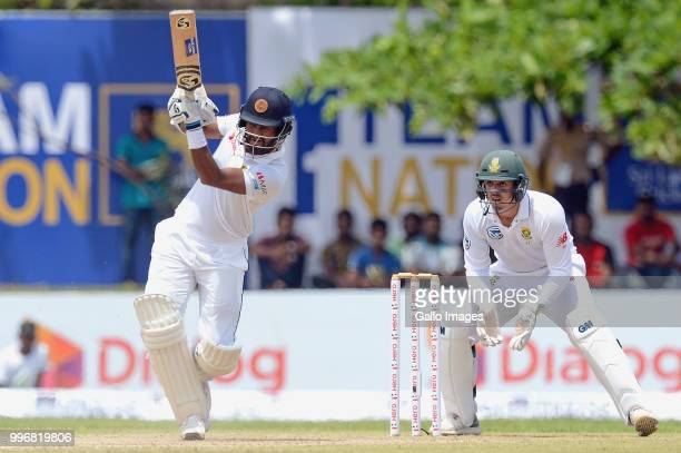 Sri Lankan batsman Dimuth Karunarathne playing a shot during day 1 of the 1st Test match between Sri Lanka and South Africa at Galle International...