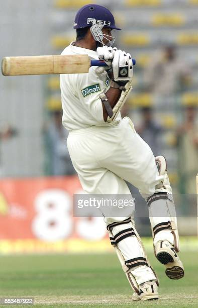 Sri Lankan batsman Kumar Sangakkara plays during his magnificient double hundred on the second day of the 2nd Asian Test Championship in Pakistan's...