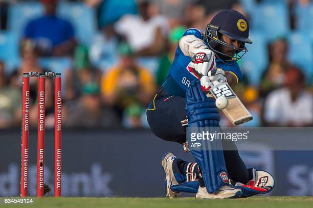 Sri Lankan batsman Niroshan Dickwella plays a shot during the fifth and last One Day International cricket match between South Africa and Sri Lanka...