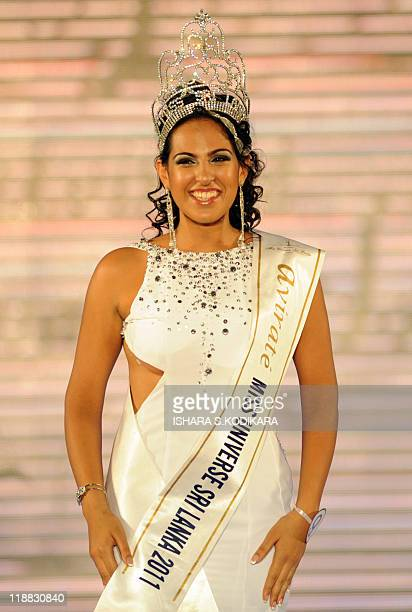 Sri Lankan beauty queen Stephanie Siriwardena smiles as she is crowned Miss Sri Lanka during a glittering contest in Colombo on July 11 2011 The...