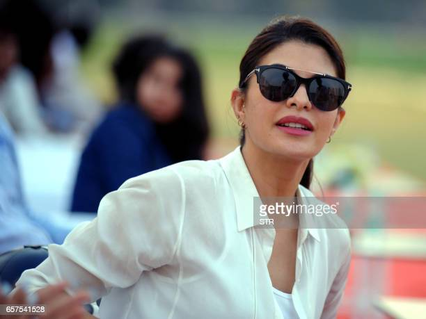 Sri Lankan Bollywood actress Jacqueline Fernandez poses during a polo tournament hosted by The Amateur Riders Club in Mumbai on March 24 2017 PHOTO /...