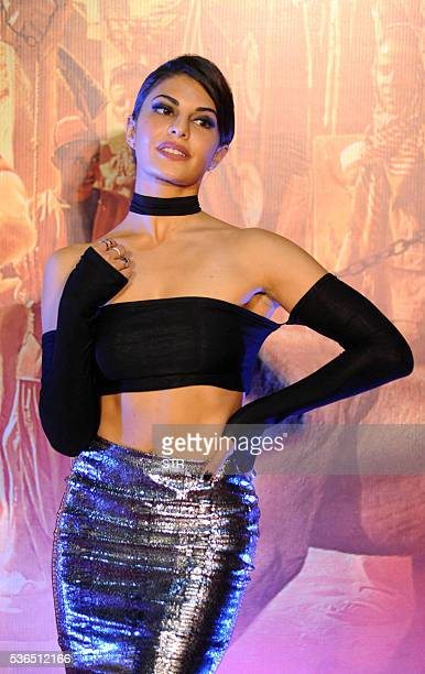Sri Lankan Bollywood actress Jacqueline Fernandez poses for a photograph during a promotional event for the forthcoming Hindi film 'Dishoom' directed...