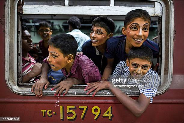 Sri Lankan boys wait for the Colombo train to depart at the Jaffna train station They painted their face for a show they were part of The popular Sri...
