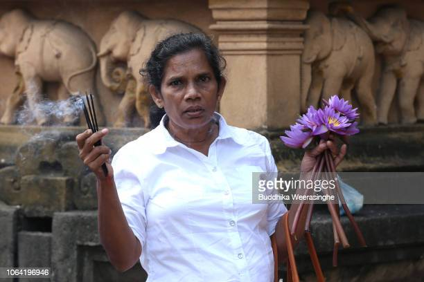 Sri Lankan Buddhist devotee carries flowers and incense for takes a part religious ritual as she marks Poya day or Full Moon Day at a temple on...