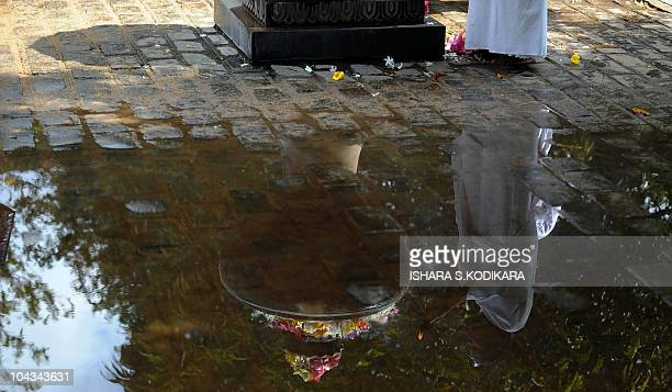 A Sri Lankan Buddhist devotee is reflected on a water puddle offering prayers during the public holiday Poya Day at the Kelaniya Temple in Kelaniya...