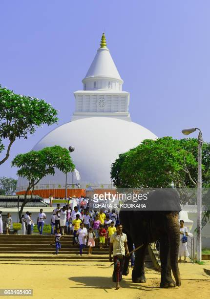 Sri Lankan Buddhist devotees walk beside an elephant at Kiri Veher Buddhist Temple in celebration of the traditional Sinhala and Tamil New Year in...