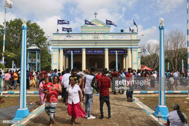 Sri Lankan Catholic pilgrims take part in the Feast of Our Lady of Madhu at the Shrine of Our Lady of Madhu in Mannar Sri Lanka With a history of...