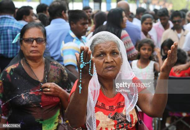Sri Lankan Catholics praying at the Shrine of Our Lady of Madhu during the Feast of Our Lady of Madhu in Mannar Sri Lanka With a history of over 400...