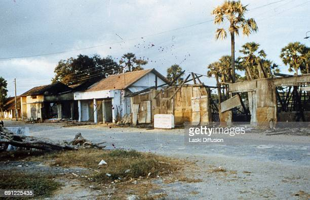 Sri Lankan Civil War blownup shops in the city of Valvettiturai Jaffna Peninsula Sri Lanka in 1984