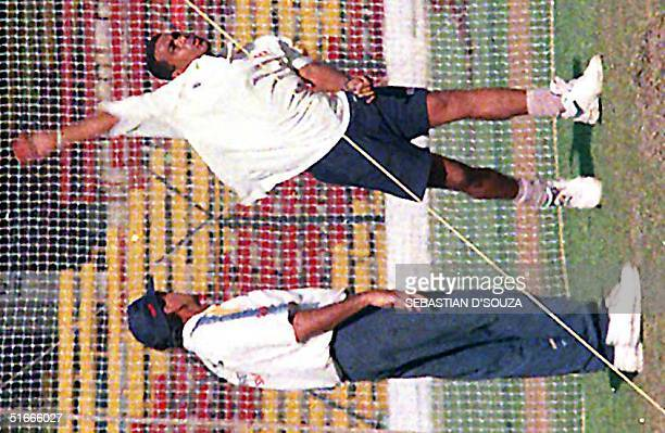 Sri Lankan coach Bruce Yardley gives special attention to the newly introduced pace bowler Ravindra Pushpakumara in Bombay 02 December Pushpakumara...