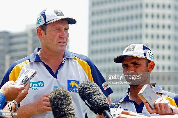 Sri Lankan Coach Tom Moody and captain Marvan Atapattu answer questions fromthe media after a Sri Lankan training session at Junction Oval on January...