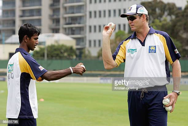 Sri Lankan coach Tom Moody instructs Nuwan Kapugedara during a Sri Lankan training session at Junction Oval on January 10 2005 in Melbourne Australia